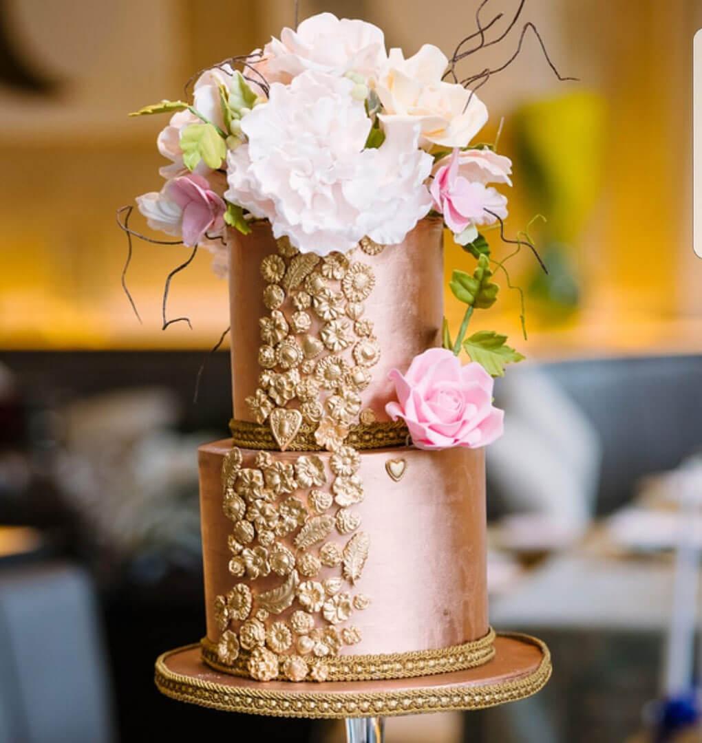 goldrosegolweddingcake
