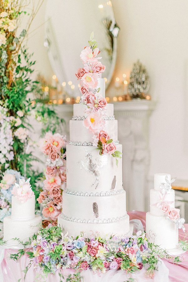 silver_white_and_silver_cake_with_pastel_flowers